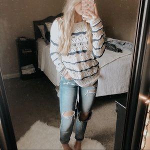 LOGG Open Knit Beachy Striped Sweater